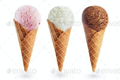 Strawberry, Vanilla and chocolate ice creams isolated