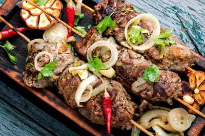 Grilled beef on bamboo skewers