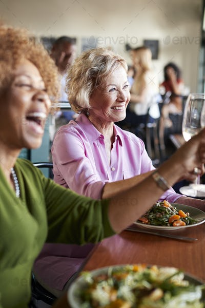 Two Smiling Senior Women Making A Toast At Meal In Restaurant