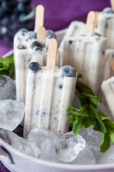 Blueberry ice cream popsicles