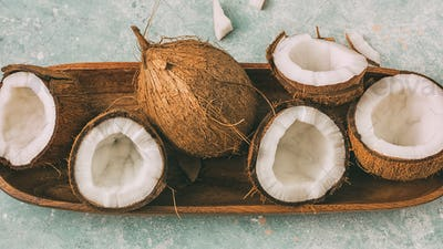 Fresh coconuts with coconut halves