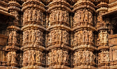 Famous sculptures of Khajuraho temples, India