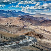 Indian lorry truck on road in Himalayas mountains