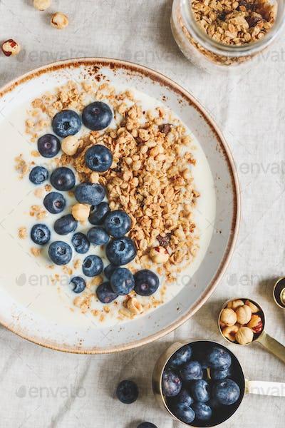 Top view on healthy breakfast