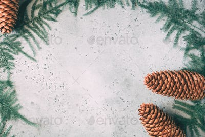 Winter decoration frame with spruce cones and plants. Flat lay, top view. Grey background.