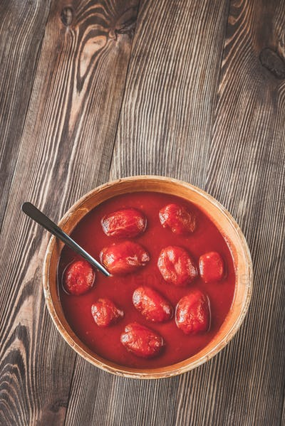 Bowl of canned tomatoes