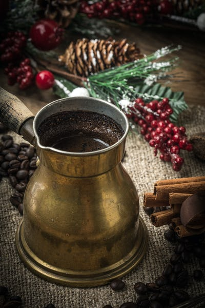 Turkish coffee in copper coffe pot