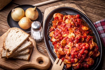 Lecho - stew with peppers, onions and sausages.