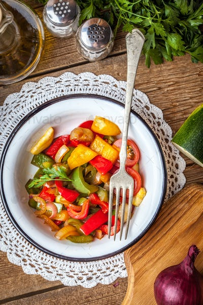 Ratatouille on a rustic table.