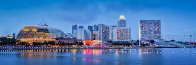 Singapore skyline panorama at Marina Bay