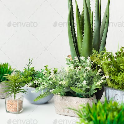 Various artificial house plants in different pots over white wall