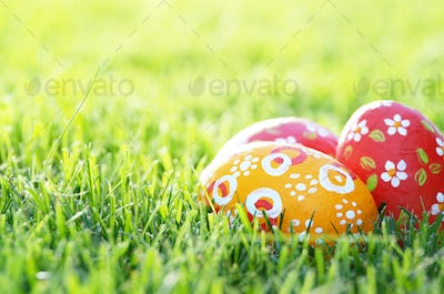 Handmade Painted Easter eggs on green spring grass. Space for te