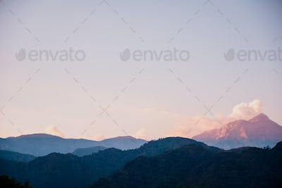 Beautiful sunset in the mountains landscape.