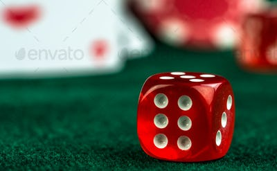 Gambling Red Dices and Poker Cards