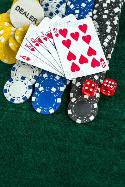 Gambling Red Dice Poker Cards and Coins