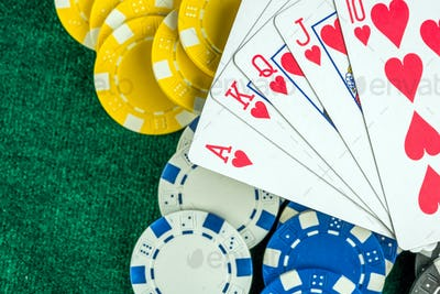 Gambling Poker Cards and Money Coins