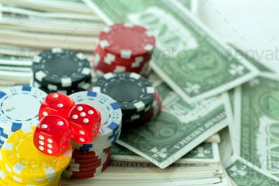 Red Dices Money Chips and Gambling Cards