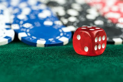 Gambling Red Dice and Casino Money Coins
