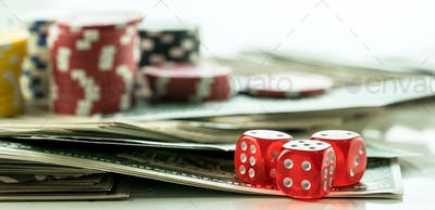 Gambling Poker Cards Chips and Dices Concept