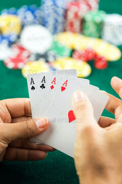Gambling Poker Blackjack Cards Hand Shown and Dices
