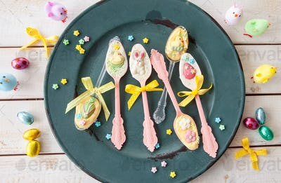 Colorful easter treats and chocolates