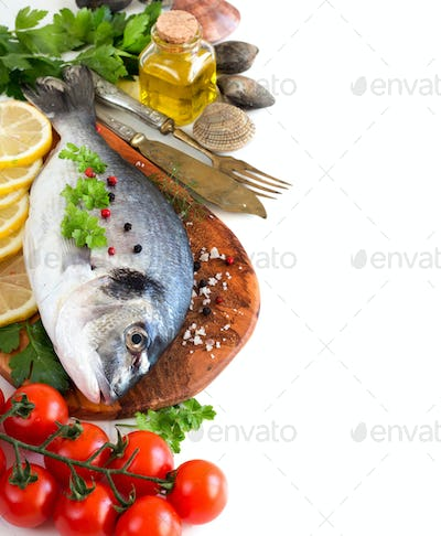 Fresh dorado fish and seafood
