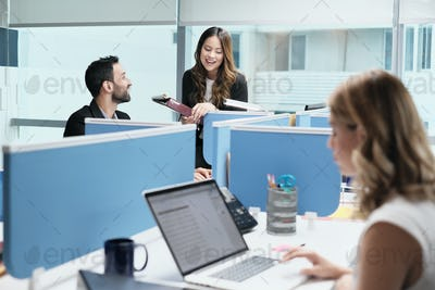 People Coworkers Meeting And Speaking For Business In Coworking Office