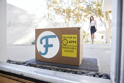 Businesswoman Coming Home To Fresh Food Home Delivery In Cardboard Box Outside Front Door