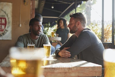 Two Male Friends Meeting In Sports Bar Enjoying Drink Before Game