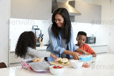 Children In Kitchen At Home Helping Mother To Make Healthy Packed Lunch