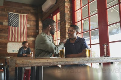 Two Male Friends Greeting One Another In Sports Bar Enjoying Drink Together