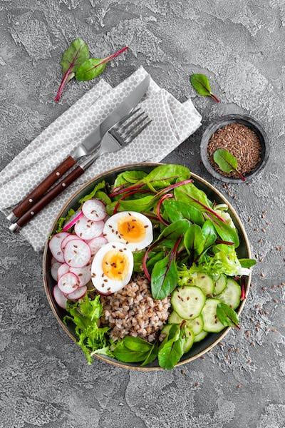 Buddha bowl dish with buckwheat