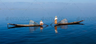 Traditional Burmese fishermen at Inle lake