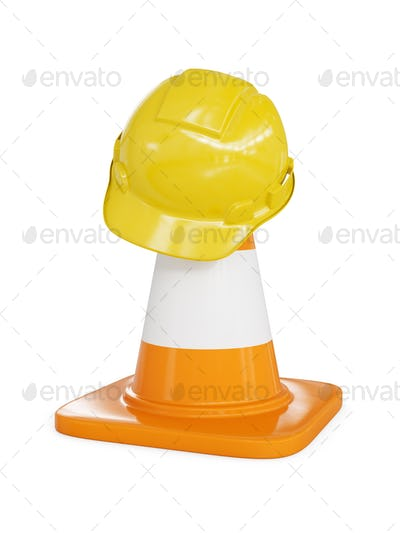 Yellow hard hat on highway traffic cone