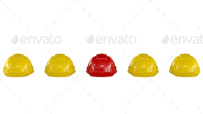 Line of yellow safety helmets with a red one