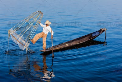 Traditional Burmese fisherman at Inle lake
