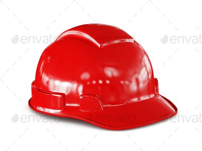 Red hard hat of construction worker isolated