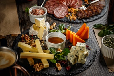 Appetizer table with antipasto snacks