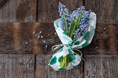 Bunch of blue hyacinths