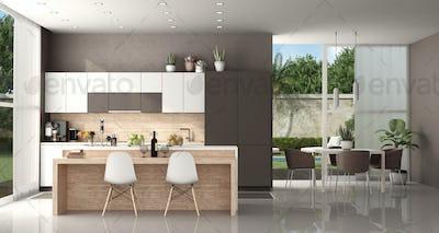 Modern kitchen of a modern villa