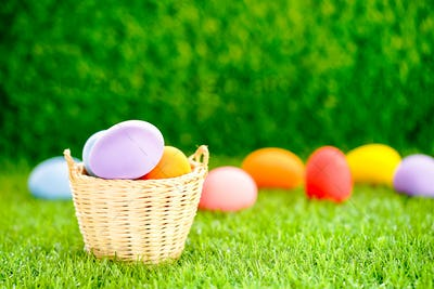 Easter eggs in the basket on green grass-11