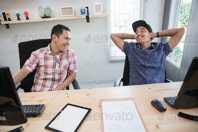 relax worker having chat on work hour brake