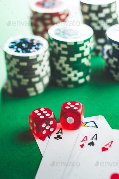 Poker cards and dice.