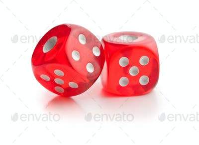 Red glass playing dices.