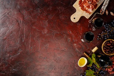 Wine and tapas, top view, flat lay