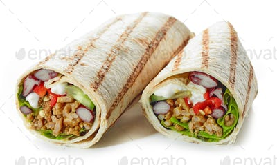 Tortilla wrap with fried minced meat and vegetables