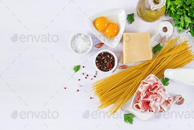 Ingredients for cooking Carbonara pasta, spaghetti with pancetta, egg, peppers, salt