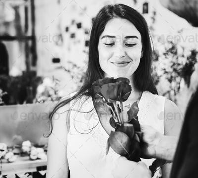Woman in the flower shop