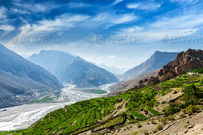 Spiti valley and river in Himalayas