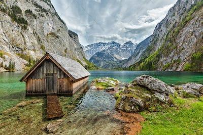 Boat dock on Obersee lake. Bavaria, Germany